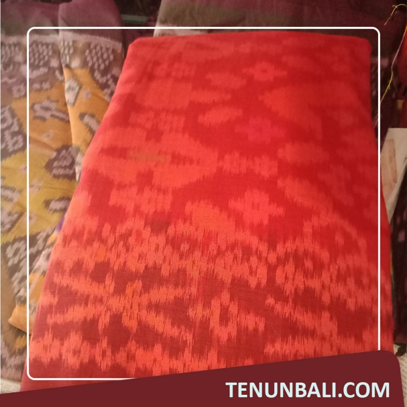 Kain Endek Meteran motif songket warna Merah
