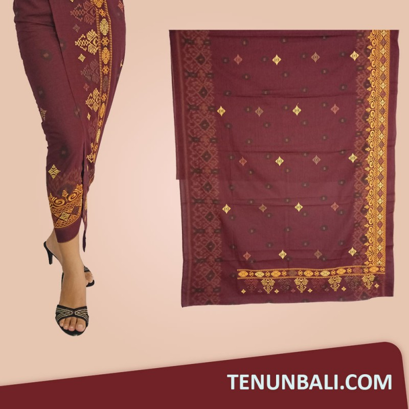 Songket Bordir Motif Jumputan Warna Maroon