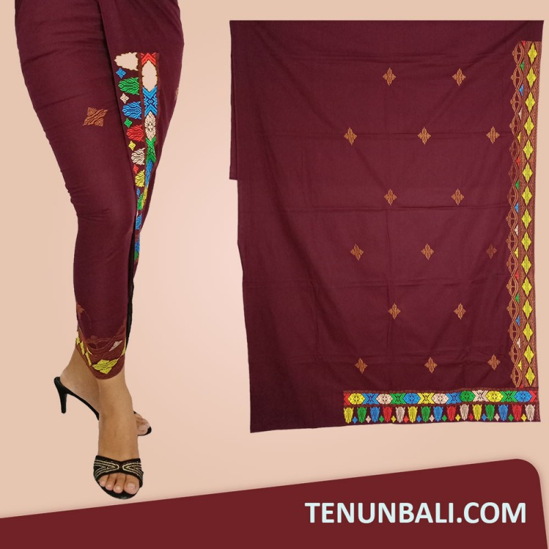Songket Bordir Tumpal Songket Warna Maroon