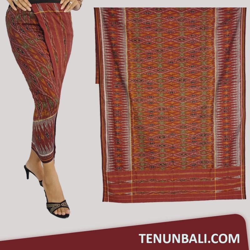 Tenun Nusa Penida  Tenun Endek Cepuk original Warna Maroon