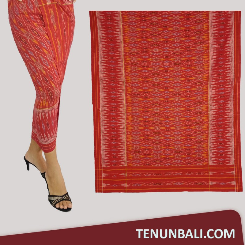 Tenun Nusa Penida : Tenun Endek Cepuk original Warna Merah